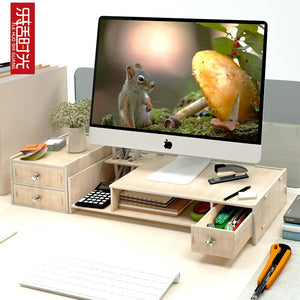 Office Computer Monitor Protect Neck Heightening Shelf Display Base Bracket Desktop Storage box wooden finishing Rack