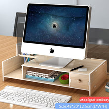 Load image into Gallery viewer, Office Computer Monitor Protect Neck Heightening Shelf Display Base Bracket Desktop Storage box wooden finishing Rack