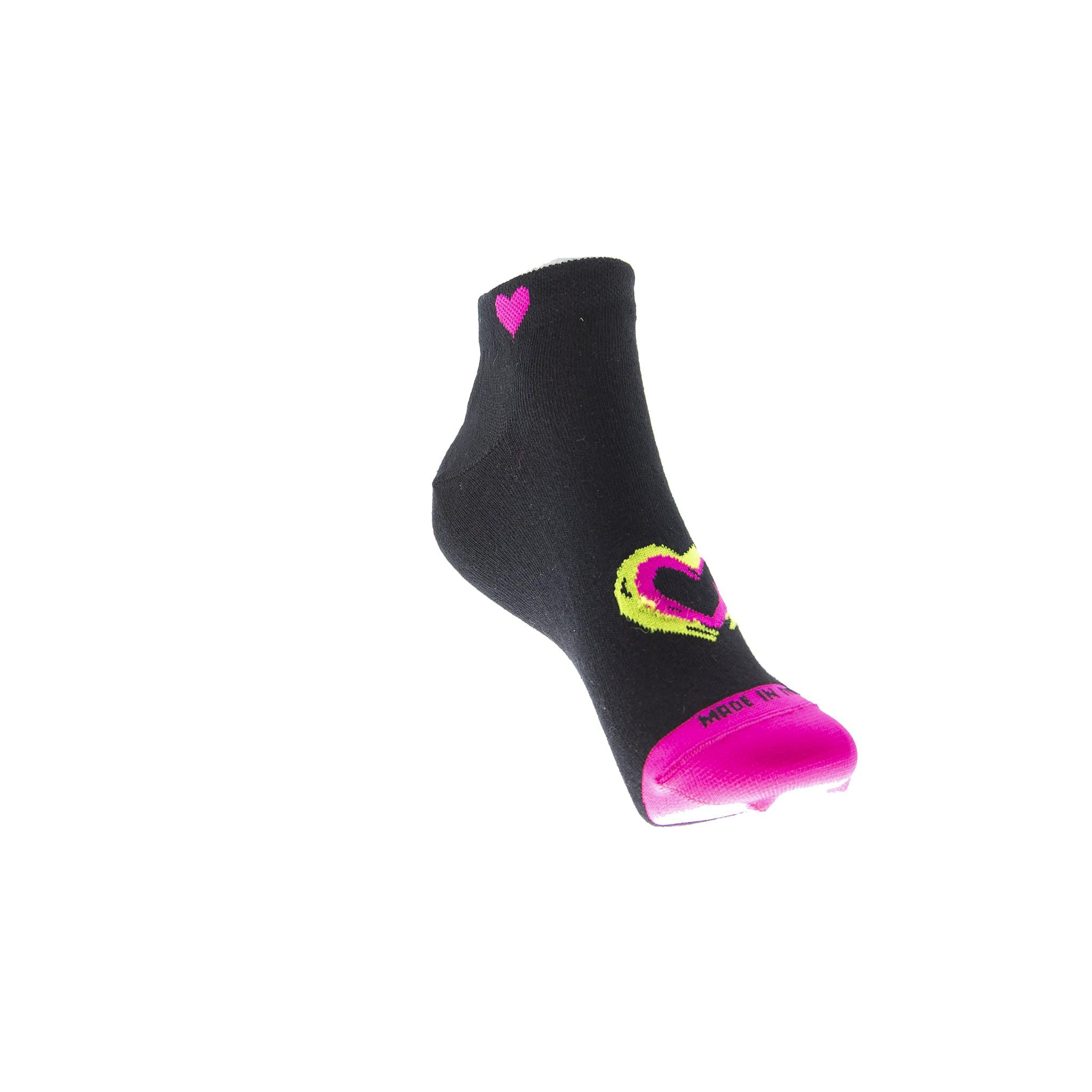 """SNEAKER LOVE FLUO"" FANCY <br> MADE IN ITALY CALZINO SINGOLO - DONNA <br> Componi il TUO paio soxplay 36-40 Black-FluoYellowPink"