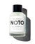 Clear NOTO bottle with white label and black lid on white background
