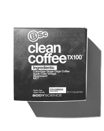 Black box with white text of BSC Clean Coffee product