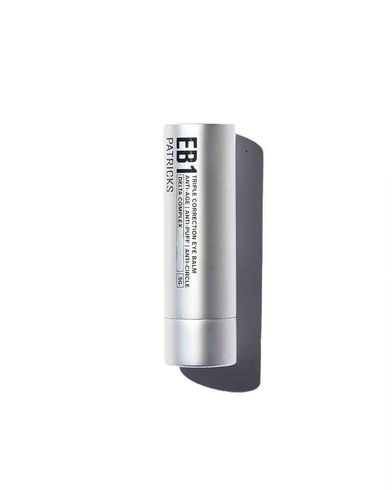 Patricks eye cream in silver cylindrical container with black text on white background