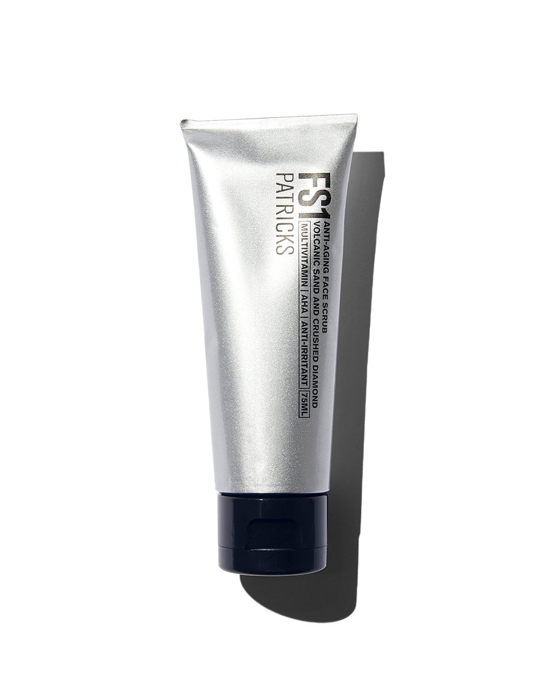Patricks Face Scrub in silver tube with black lid on white background