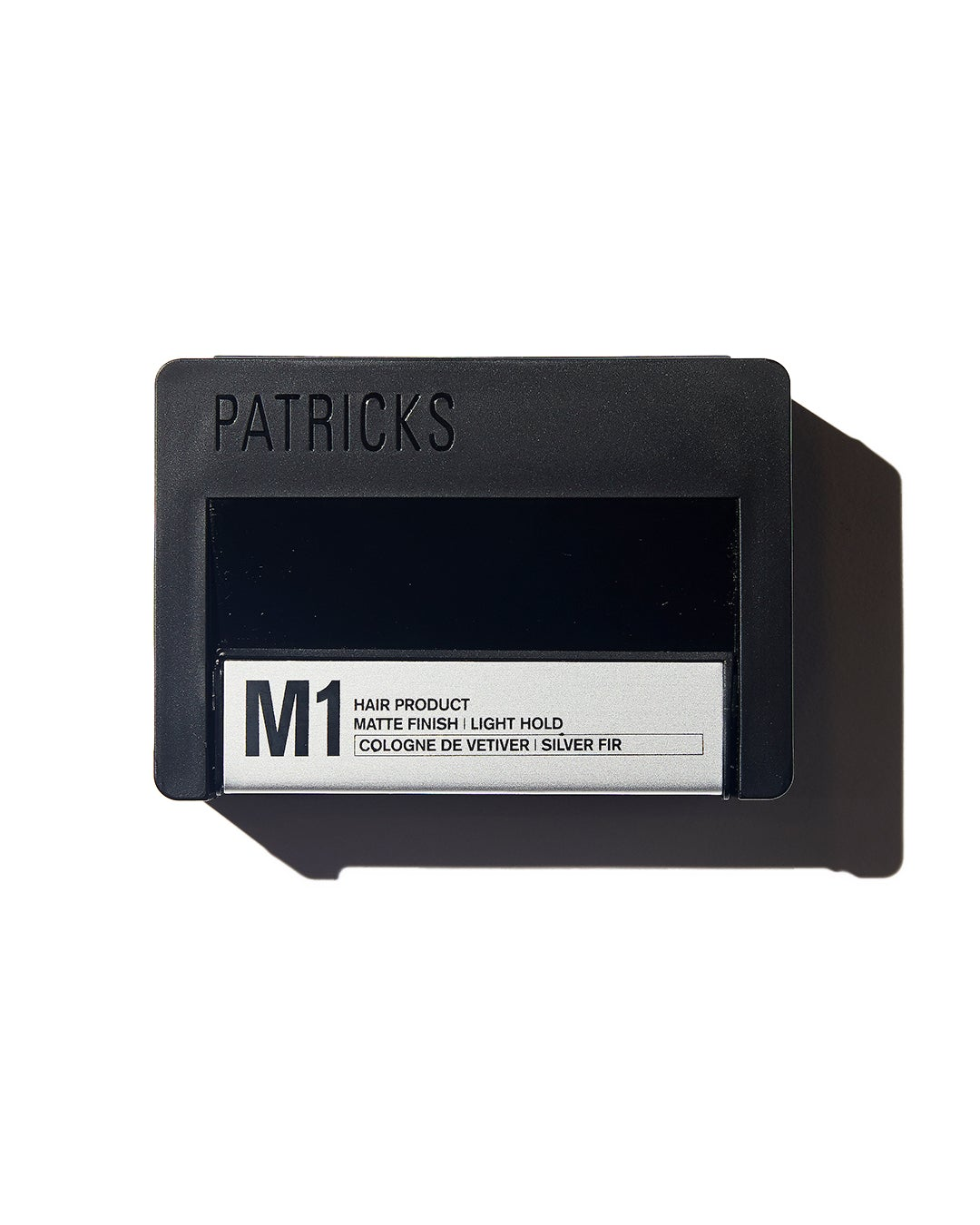 Patricks Light Hold hair product in black rectangular container with silver label on white background