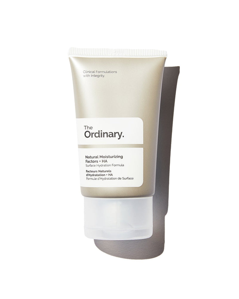 Arrangement of three skincare intro set products from The Ordinary on white background