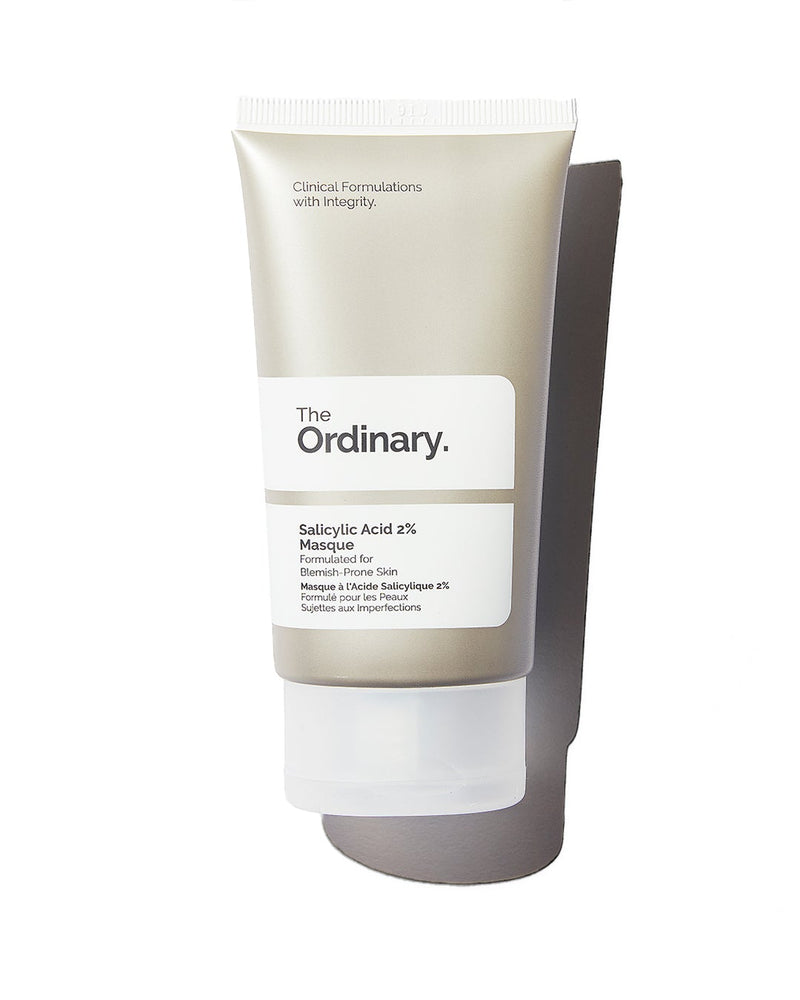 The Ordinary Salicylic Acid 2% Masque in silver tube with white label on white background