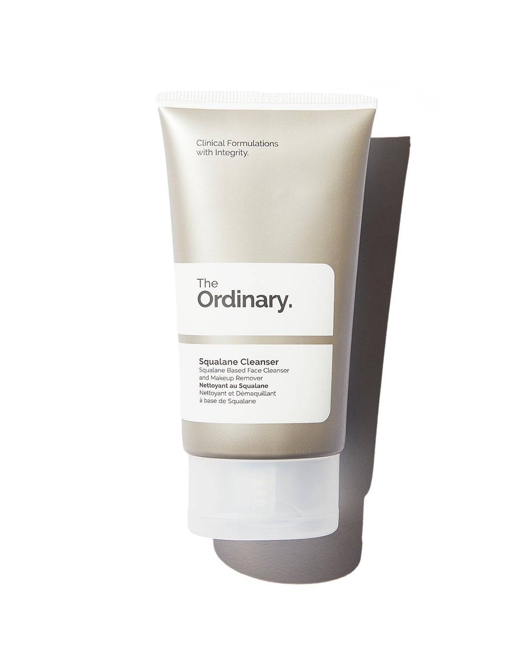 The Ordinary Squalene Cleanser in silver tube with white label on white background