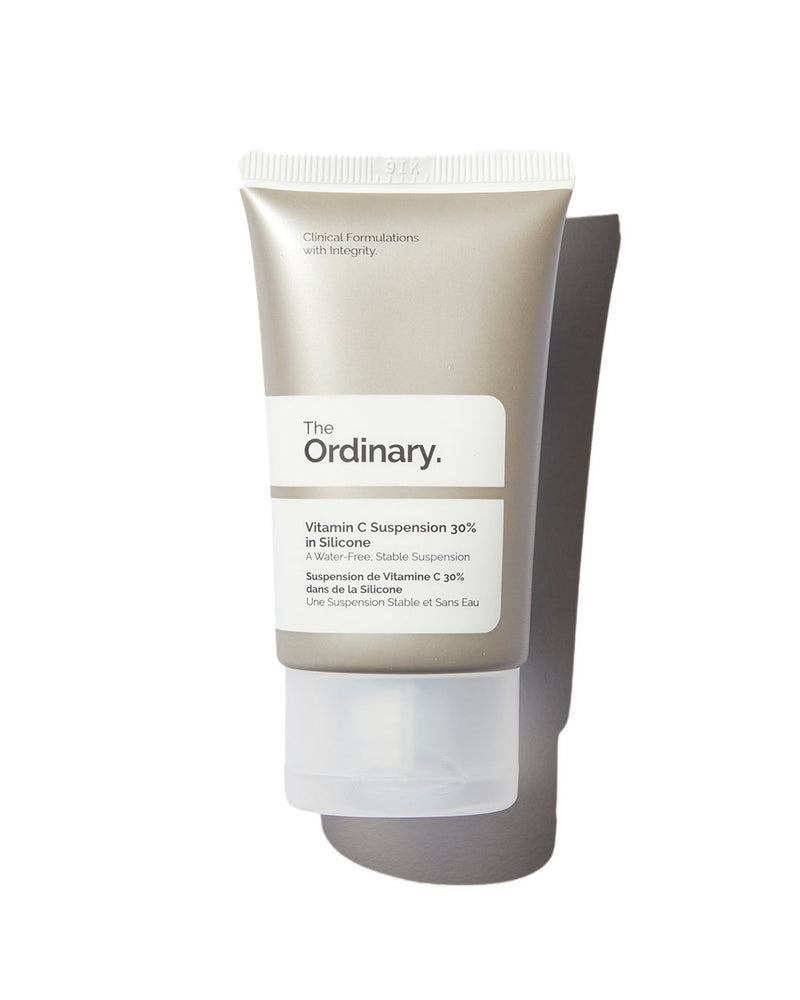 The Ordinary Vitamin C Suspension 30% in Silicone in silver tube with white label on white background