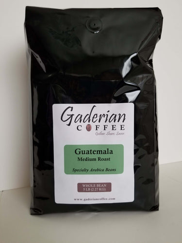 5 lb bag Gaderian Coffee Medium Specialty Whole Bean