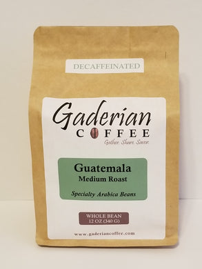 12 oz Specialty Grade Coffee, Guatemala - Decaf (Medium Roast), Whole Bean