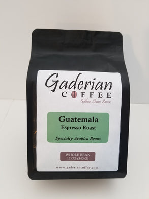 12 oz Specialty Grade Coffee, Guatemala - Espresso Roast, Whole Bean