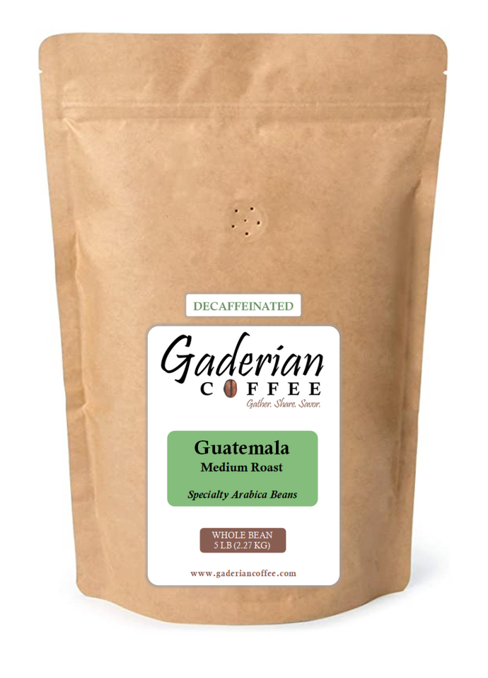 5 lb Specialty Grade Coffee (Case of 2 Bags), Guatemala - Decaf (Medium Roast), Whole Bean