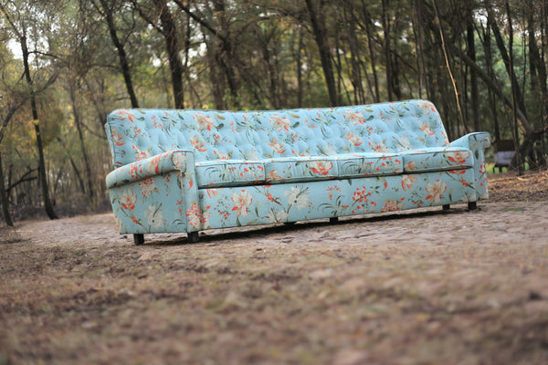 1960's Curved Couch with New Upholstery