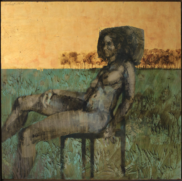 'Nude' by Charles Billich - Oil and Gold Leaf on Board
