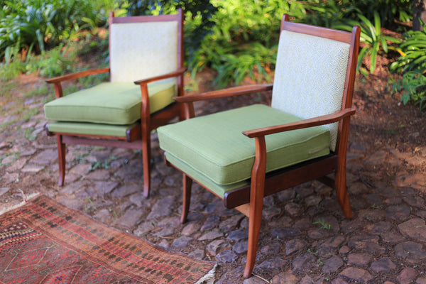 Upholstered Sapele Armchairs