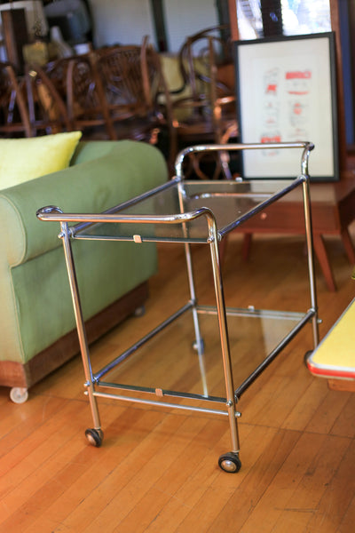 1930's Chrome and Glass Cocktail Trolley