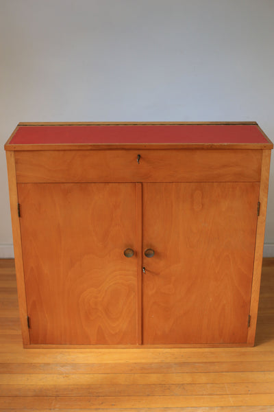 Rustic Cabinet with Red Vinyl Top