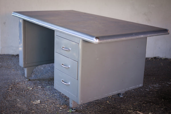 Vintage Grey Steel Tanker Desk