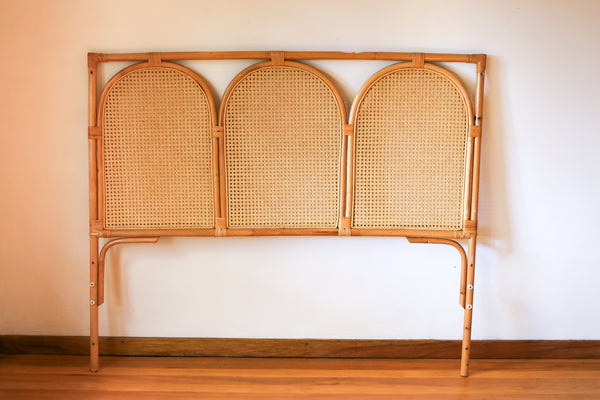 Vintage Double Bed Cane Headboard