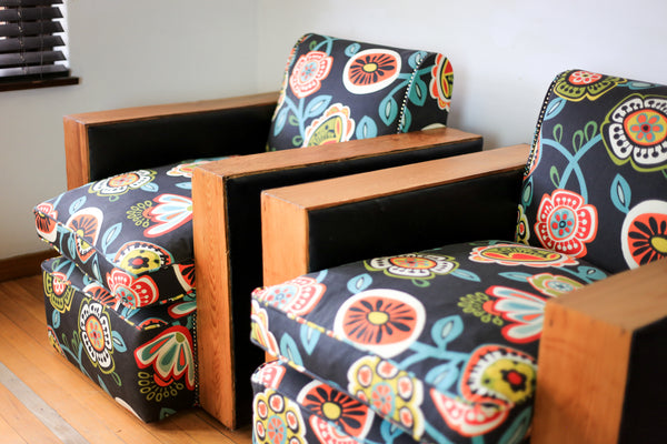 Floral Art Deco Club Chairs