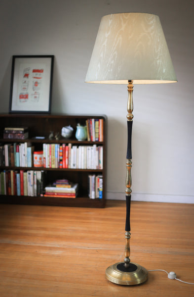 Vintage Brass and Wood Floor Lamp