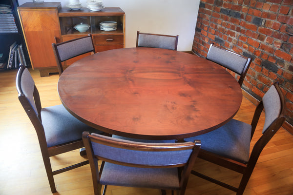 Vintage Round Dining Table with Lazy Susan