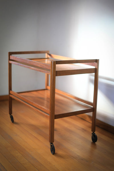 Large Solid Wood Drinks Trolley on Castors