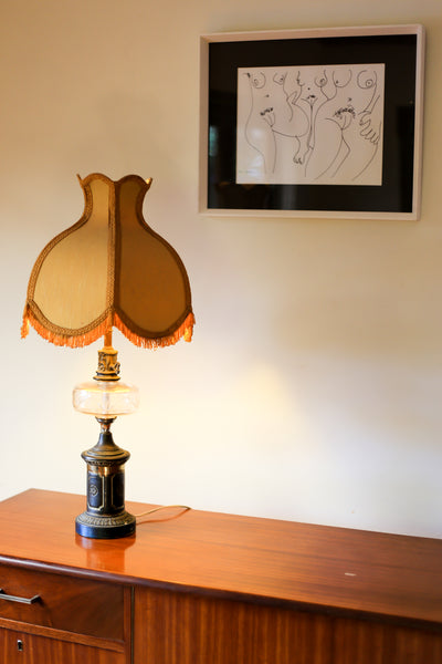 Vintage Brass and Glass Table Lamp
