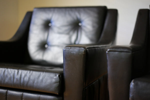 1960's Leather Armchairs