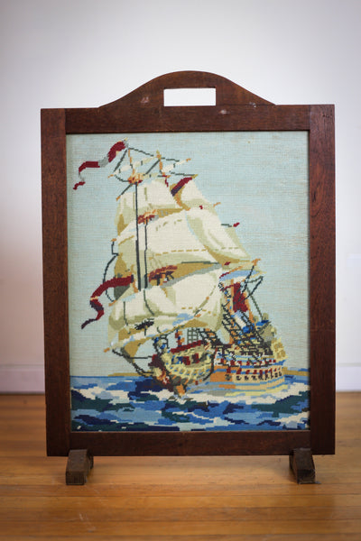 Vintage Tall Ship Embroidered Screen