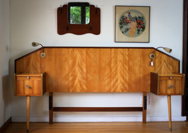 Mid Century Headboard with Pedestals and Lamps