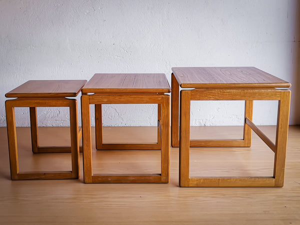 Modernist Oak Nest of Tables - UK, 1960's