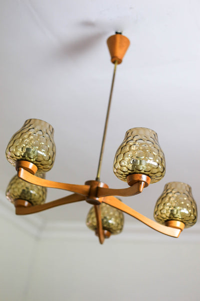 Mid-century Teak and Glass Chandelier