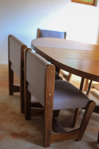 Brutalist Dining Table and Six Chairs