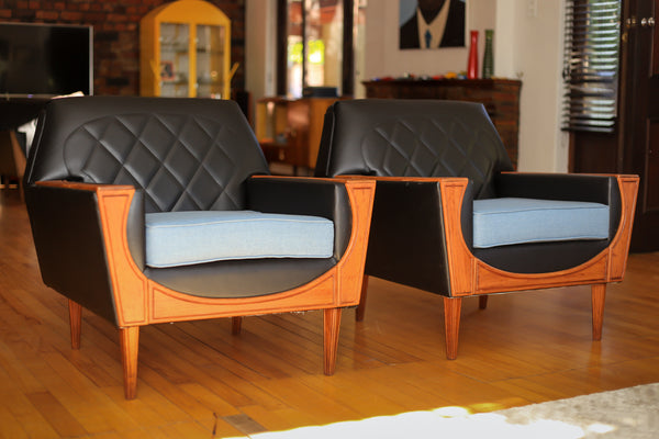 Refurbished 1960 Airflex Lounge Suite - Blue Cushions