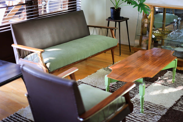 Mid Century Modern Settee and Armchairs