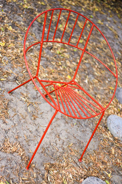 Retro Steel Garden Chairs with a Sunburst Motif