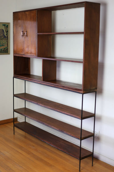 Vintage Steel and Wood Wall Unit