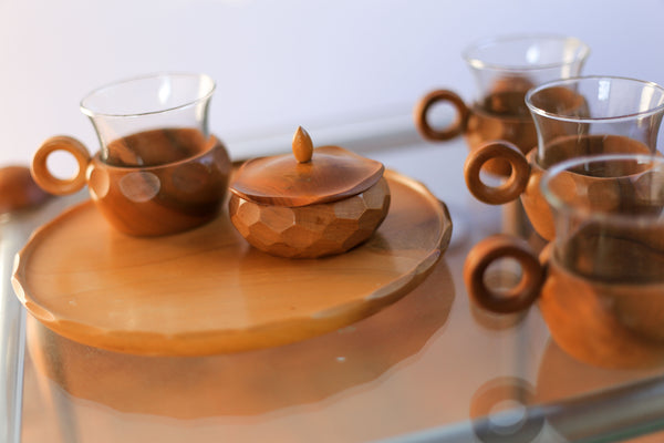 Swiss Hand Carved Wooden Coffee Set