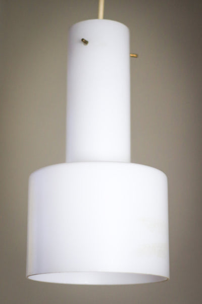 Mid Century White Glass Pendant Lamp