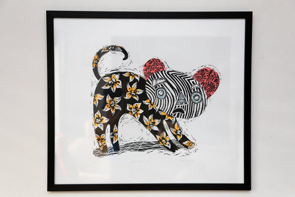 'Something Like That' by Marna Hattingh - Linocut with hand-colouring