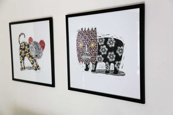 'Burnt by the Sun' and 'Something Like That' by Marna Hattingh - Linocuts with hand-colouring