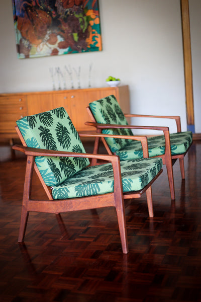 Mid Century Sleeper Couch and Two Armchairs