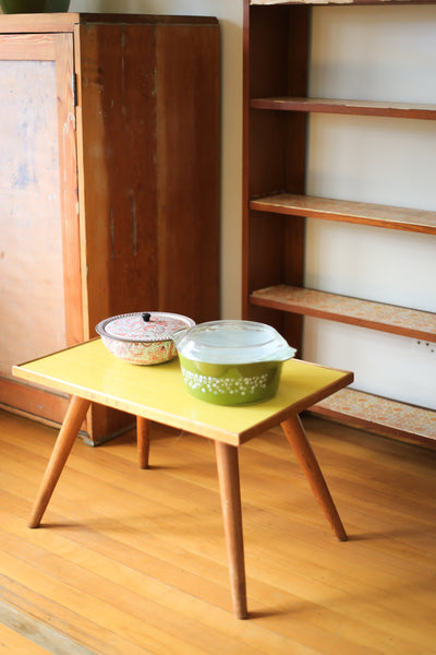 Retro Side Table with a Yellow Melamine Top