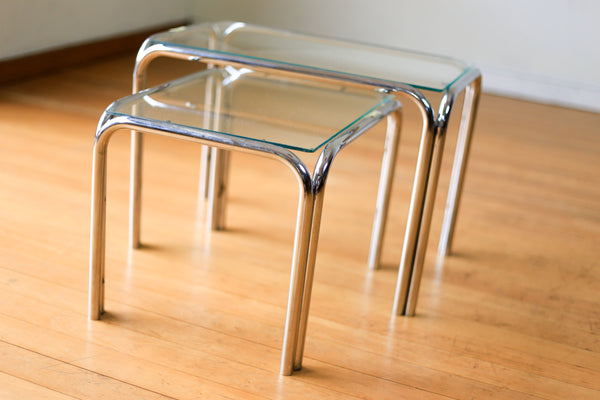 Two Chrome and Glass Side Tables