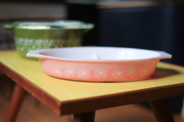 Two Daisy Patterned Pyrex Casseroles