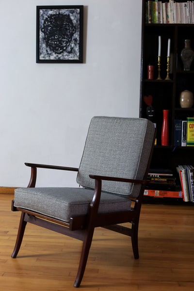Light Grey Mid Century Modern Armchair