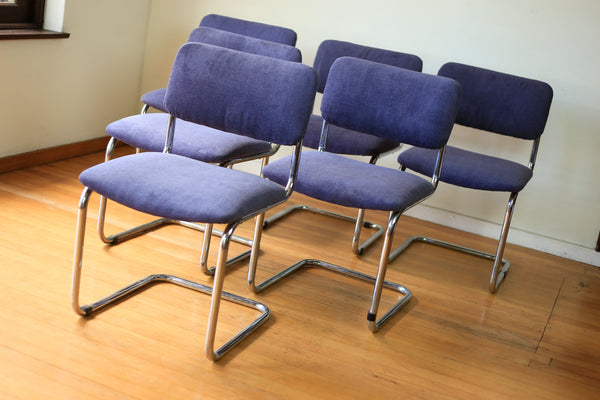 Six Chromed Tubular Steel Cantilever Dining Chairs