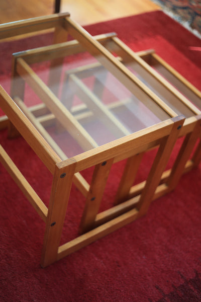 Wood and Glass Nest of Tables