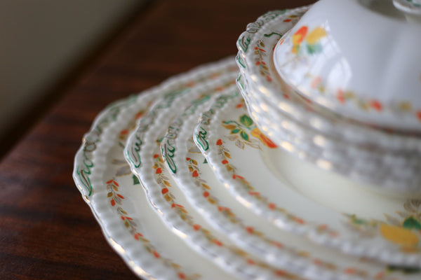44 Piece Vintage 'Holly Leaves' Grindley Dinner Service (England)